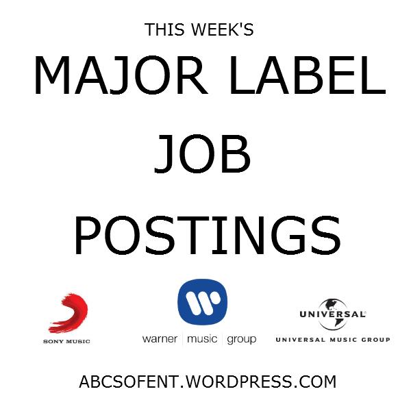 This Week's Major Label Job Postings