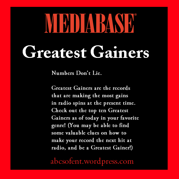 Mediabase Greatest Gainers